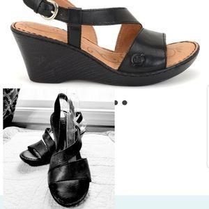 BORN leather black Sorine wedge sandal heels